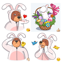Easter Bear sticker pack