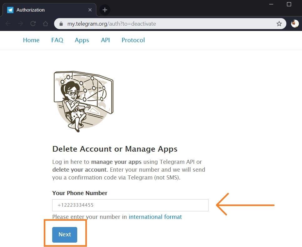 Deleting Telegram account