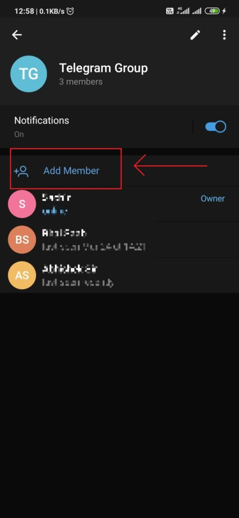Adding telegram members