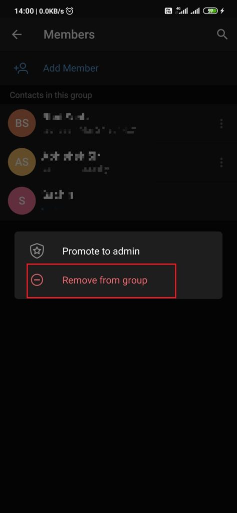 How to remove any member from telegram group